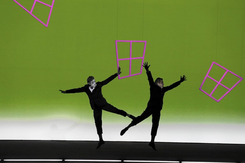 """Willem Dafoe, left, and Mikhail Baryshnikov in """"The Old Woman"""" at Royce Hall in Los Angeles."""