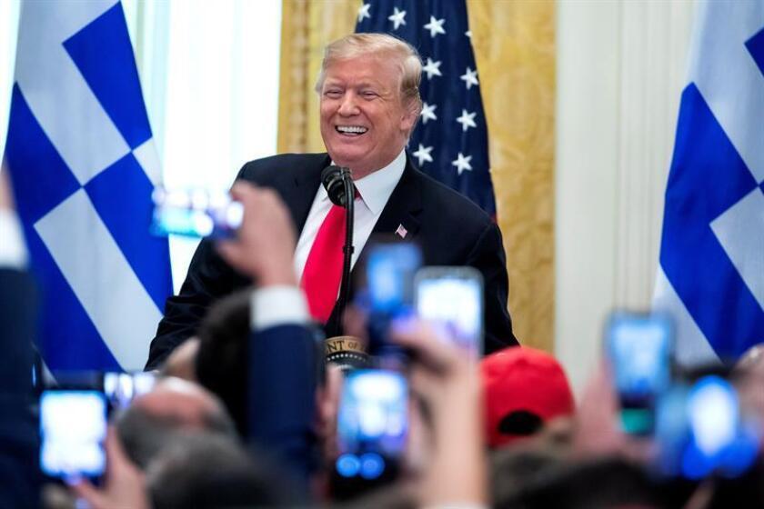 El presidente de los Estados Unidos, Donald J. Trump, preside la celebración del Día de la Independencia de Grecia en la Sala Este de la Casa Blanca, en Washington (EE.UU.). EFE/Archivo