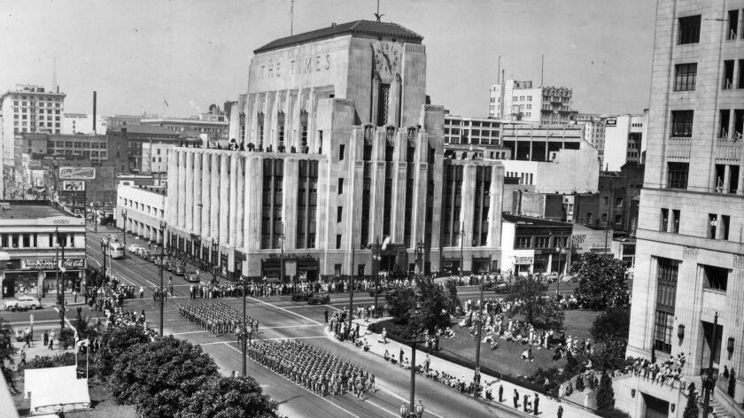 July 4, 1942: Independence Day parade on Spring St. with the Los Angeles Times building in backgroun