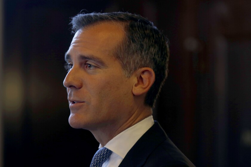 Los Angeles Mayor Eric Garcetti frustrated Clinton's team last year.