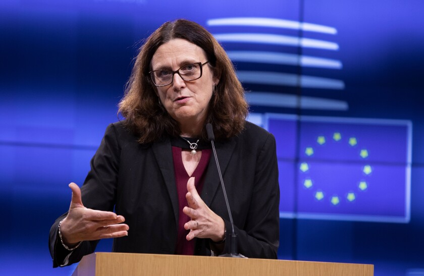 European Commissioner for Trade Cecilia Malmstrom speaks during a media conference after an informal lunch of EU trade ministers at the Europa building in Brussels, Tuesday, Oct. 1, 2019. The World Trade Organization ruled in May that Europe illegally subsidized Airbus, hurting U.S. competitor Boeing. The WTO is set shortly to allow President Donald Trump to slap tariffs worth billions of euros on European products, including wine, cheese and olives, in response. (AP Photo/Virginia Mayo)