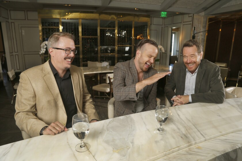 """Breaking Bad"" series creator Vince Gilligan, left, and stars Bryan Cranston and Aaron Paul talk about the success of the series and the final episode."
