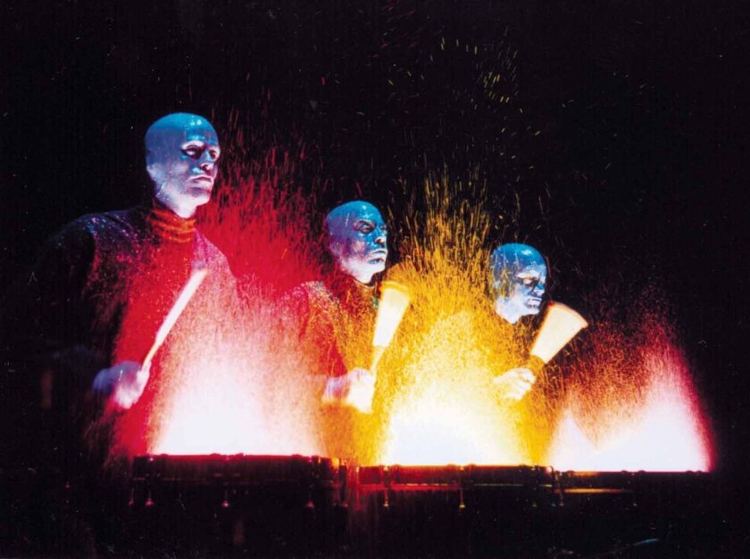 Blue Man Group is hitting the Civic Theatre in living color.