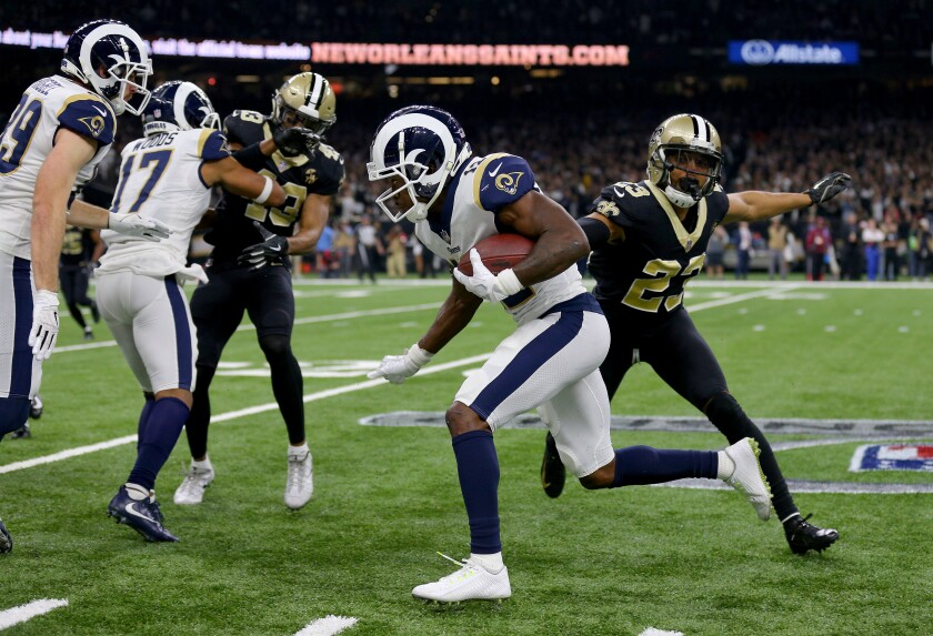 Rams wide receiver Brandin Cooks runs the ball against the New Orleans Saints during the third quarter of last season's NFC championship game.