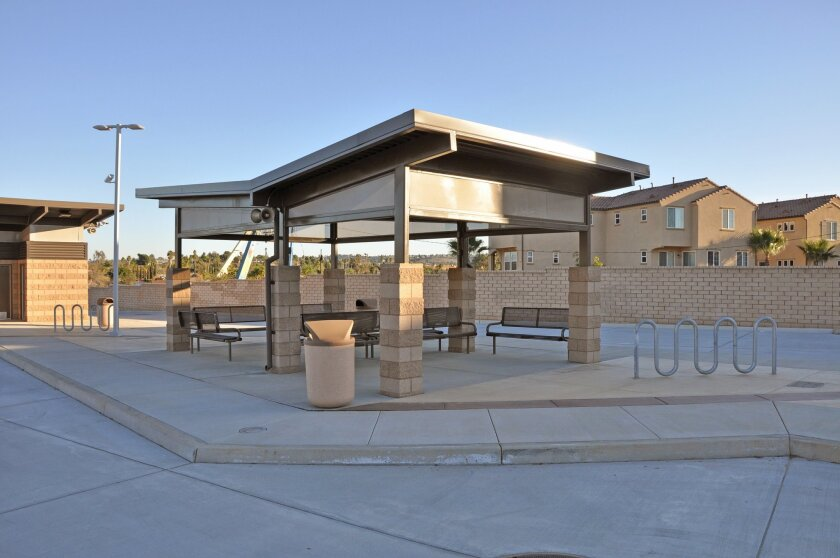 Serving bus riders across north Oceanside and Camp Pendleton, the San Luis Rey Transit Center is expected to open Saturday, replacing a smaller bus hub. Photo courtesy of SANDAG.
