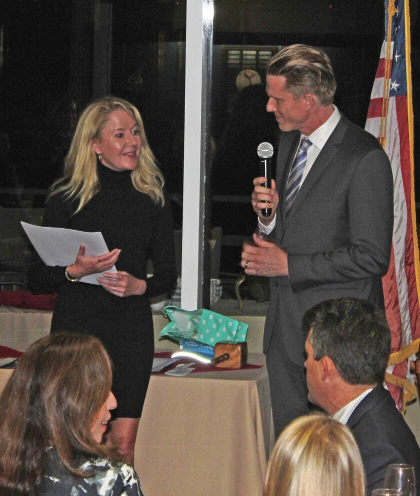 PBTC president Brian White introduces the 2019 Honorary Mayor of Pacific Beach, Cathie Jolley to the more than 110 attendees at the PBTC Installation Dinner, Jan. 20 at Mission Bay Yacht Club.