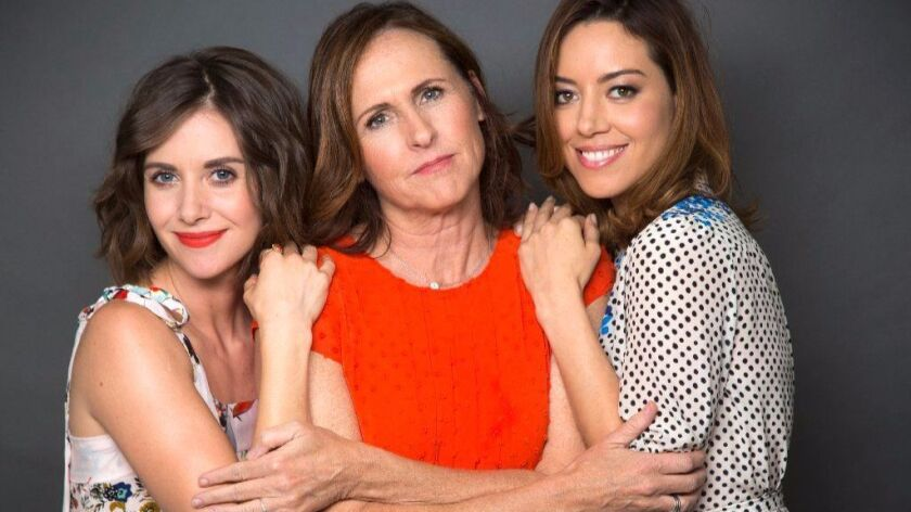 BEVERLY HILLS, CA - JUNE 14, 2017 - Lt to Rt: Actresses Alison Brie, Molly Shannon and Aubrey Plaza,