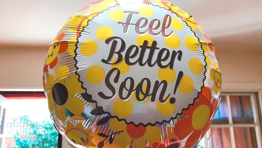 A balloon welcomes Olof home.
