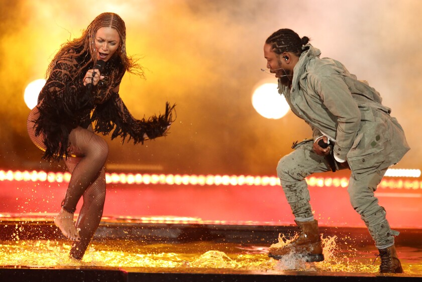 "Beyoncé and Kendrick Lamar launch the BET Awards with a fiery performance of ""Freedom."""
