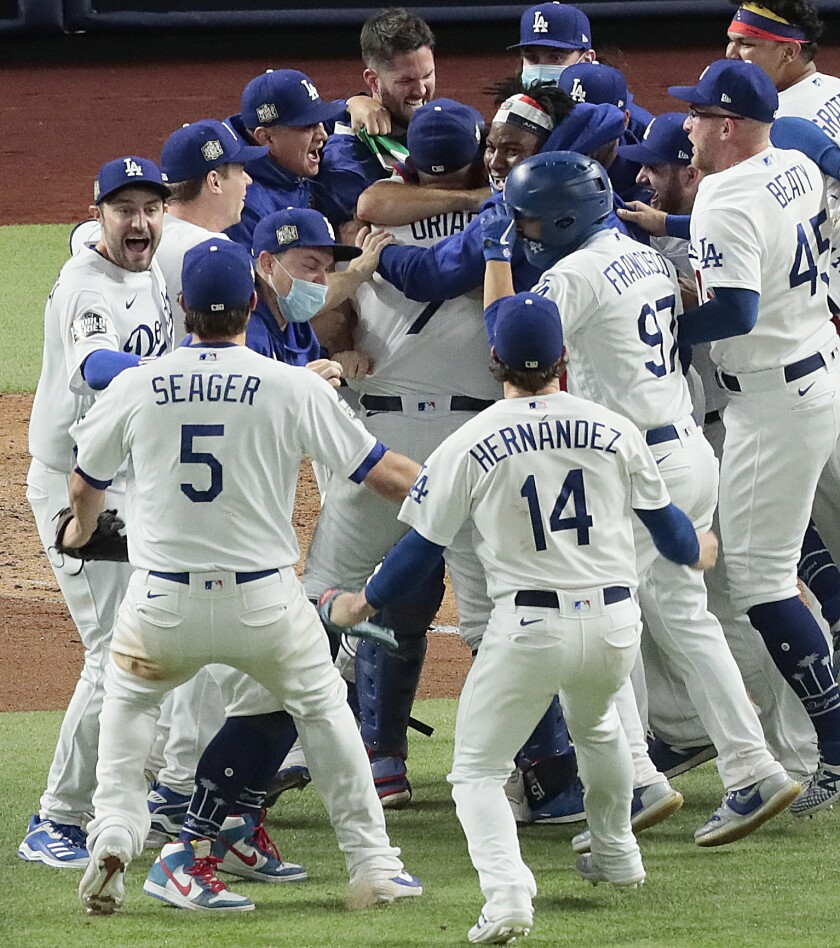 Dodgers celebrate after winning the World Series.