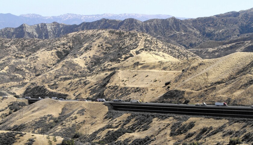 A scenic view of Interstate 5 from Old Ridge Route. Harrison Scott, executive director of the Ridge Route Preservation Organization, has tried for 25 years to preserve the old highway that connected Los Angeles County and the San Joaquin Valley.