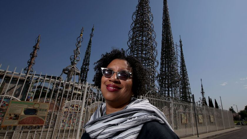 Robin Coste Lewis, poet laureate of Los Angeles, visiting Watts Towers.