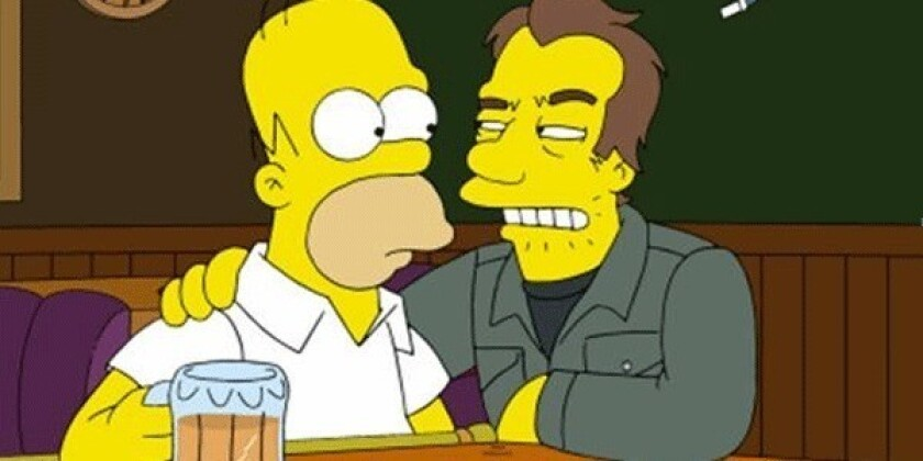 """Homer Simpson with a character who will be voiced by Tom Waits on an upcoming episode of """"The Simpsons."""""""