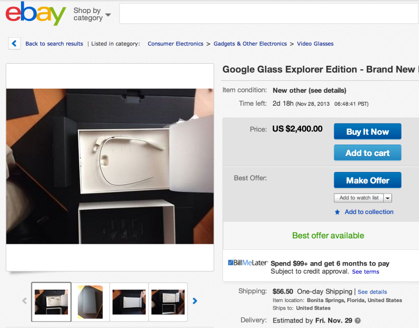 Numerous users are beginning to sell Google Glass devices on EBay and Craigslist.