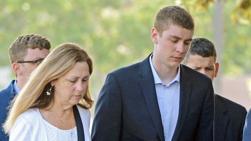 Brock Turner, 20, enters the Santa Clara Superior Courthouse in June.