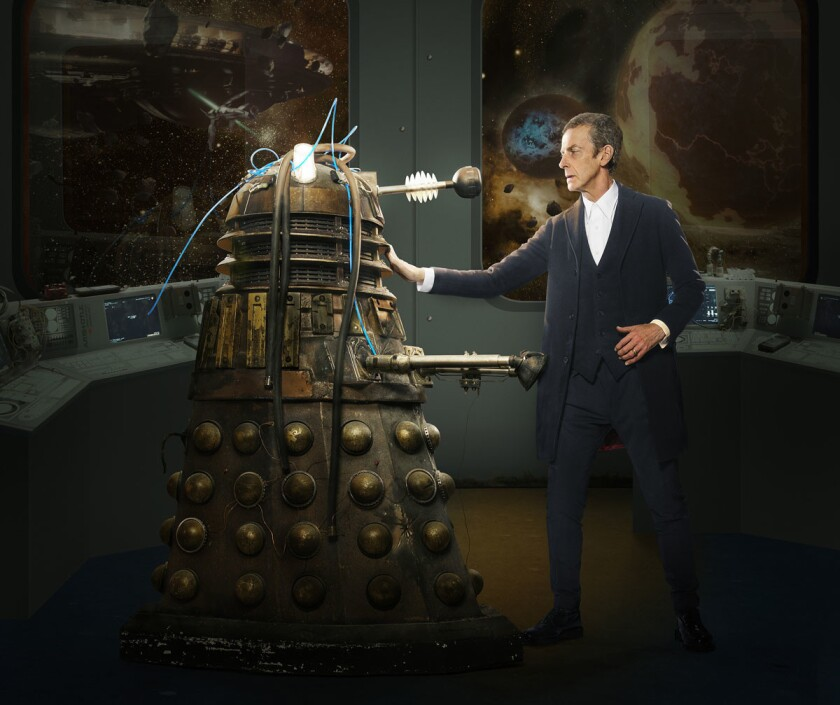 "Peter Capaldi as The Doctor faces off with a Dalek from the BBC show ""Doctor Who."" (Ray Burmiston/BBC)"
