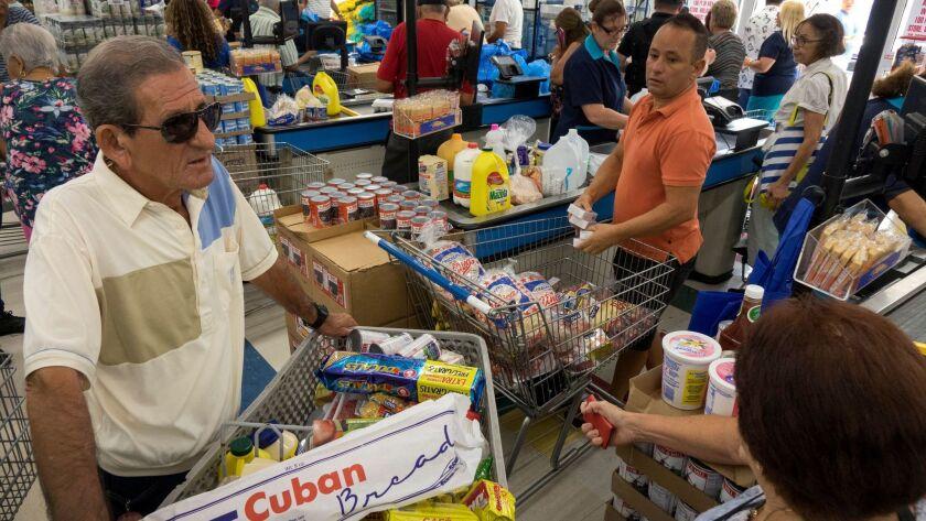 Miami residents buy groceries ahead of Hurricane Irma.