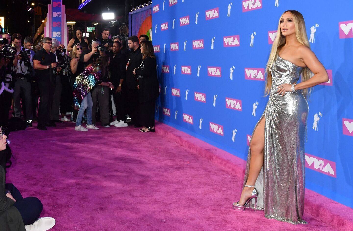 US singer Jennifer Lopez attends the 2018 MTV Video Music Awards at Radio City Music Hall on August 20, 2018 in New York City.