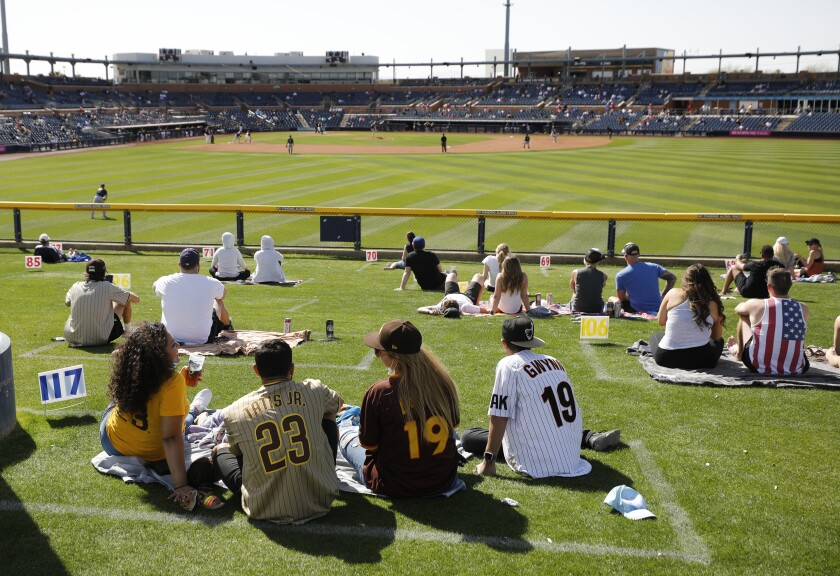 Padres fans sit in the grass beyond the outfield fence Wednesday against the Brewers