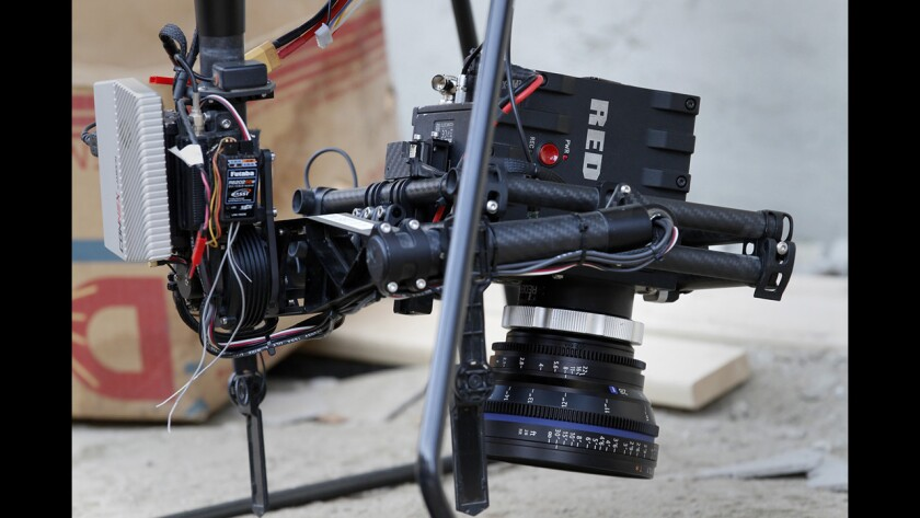 """A RED Epic camera carried by a drone is used to film a scene of """"Criminal Minds: Beyond Borders"""" in Santa Clarita. The Aerial MOB drone can carry up to a 22-pound cinema camera and travel up to 40 mph."""