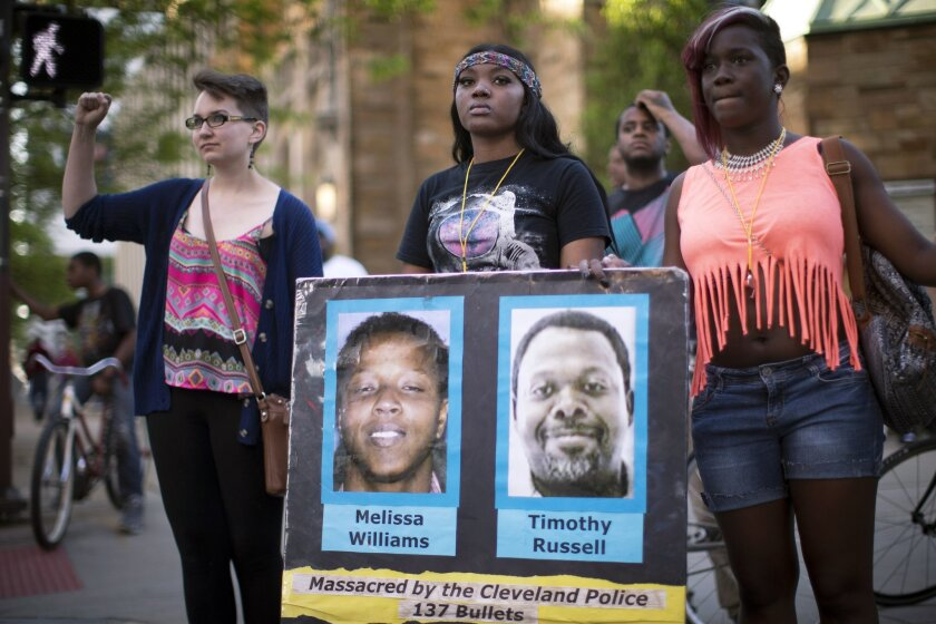 In May 2015, demonstrators protest the acquittal of Michael Brelo, a Cleveland police officer charged in the shooting deaths of two unarmed suspects. Brelo and five other officers involved in the shooting were fired on Tuesday.