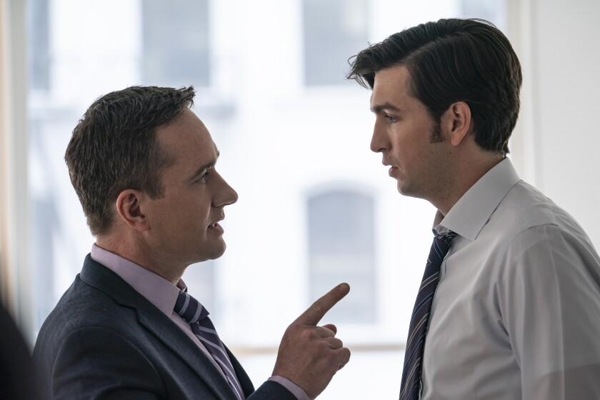 """Emmy nominees Matthew Macfadyen and Nicholas Braun in a scene from HBO's """"Succession."""""""