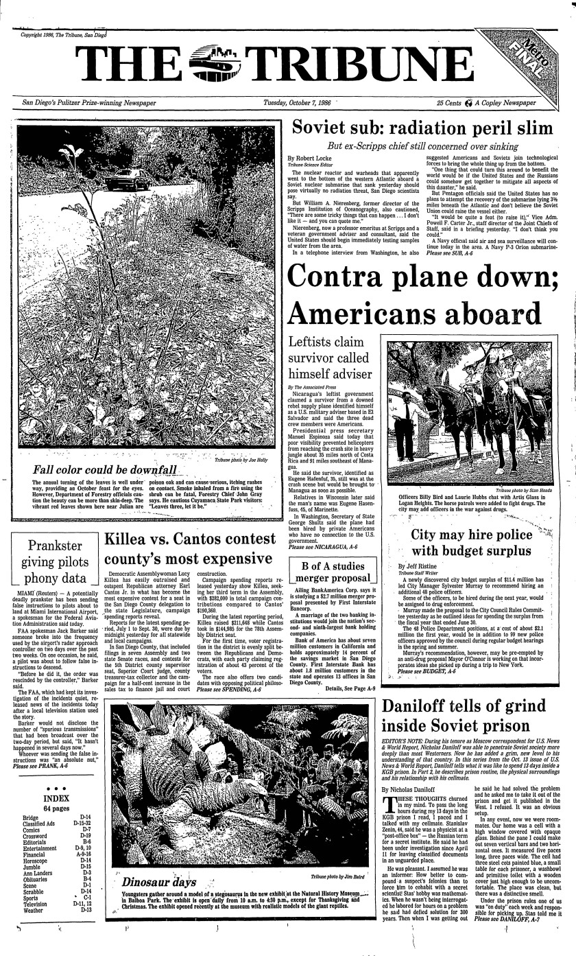 Front page of The Tribune, Tuesday, Oct. 7, 1986