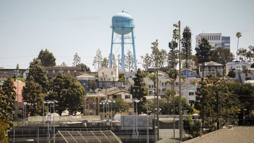 El Segundo's water tower looms over a neighborhood. The Los Angeles Times will soon move from DTLA to the seaside city.