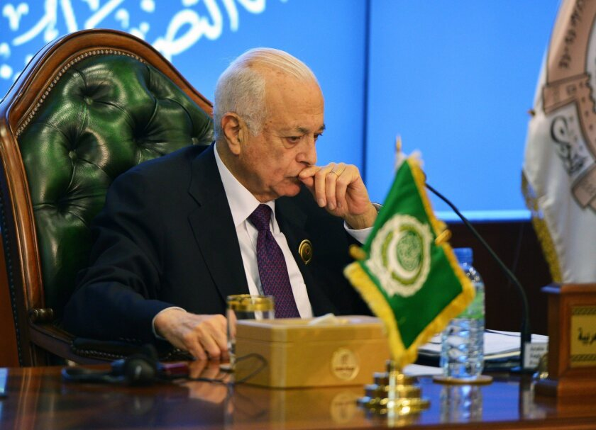Arab League Secretary-General Nabil Elaraby looks on during a news conference at the end of the organization's summit in Kuwait.