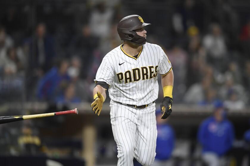 The Padres' Brian O'Grady hits a two-run home run