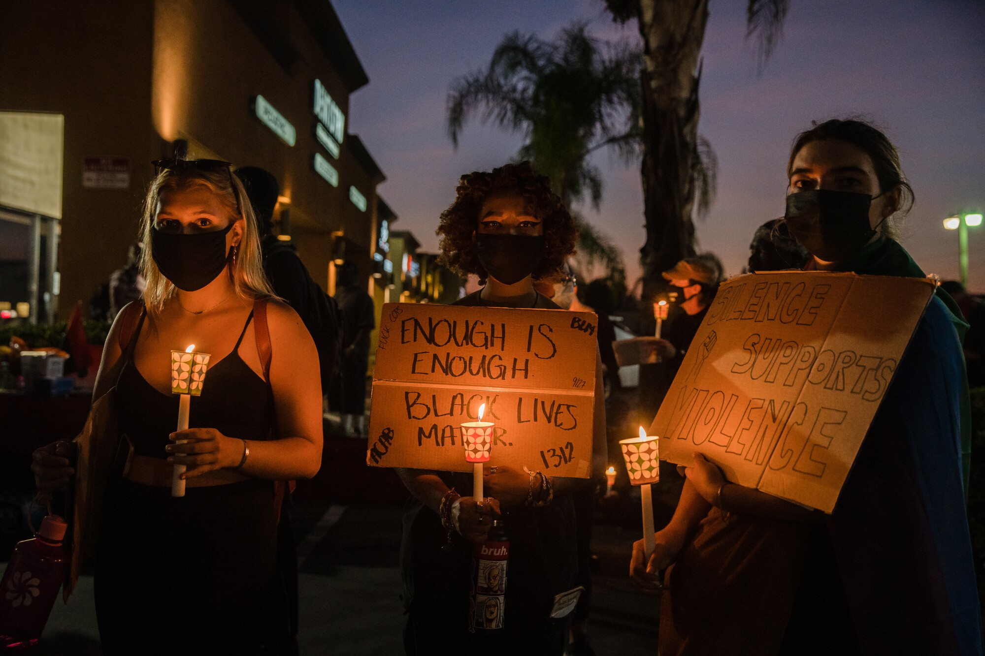 Protesters get ready to march for the fourth anniversary of Alfred Olango's death in El Cajon on September 27, 2020.