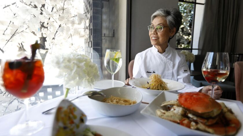 BEVERLY HILLS, CA APRIL 12, 2019: Portrait of Helene An, 75, at Crustacean Restaurant in Beverly