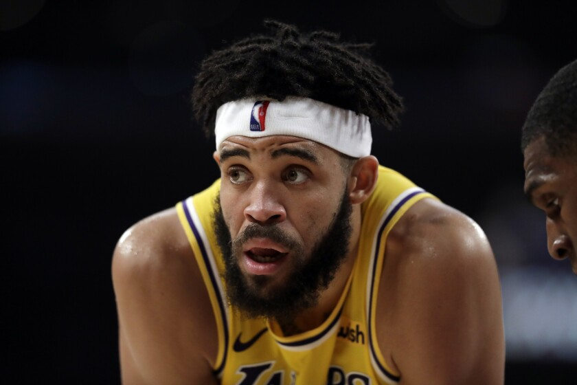 Los Angeles Lakers' JaVale McGee during the first half of an NBA basketball game against the Golden