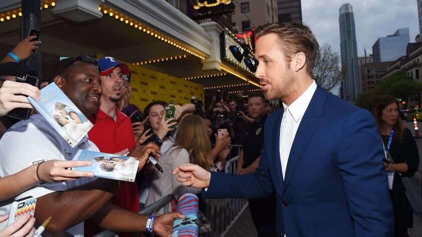 """Ryan Gosling greets fans at the """"Song to Song"""" premiere during the 2017 South by Southwest Film Festival."""