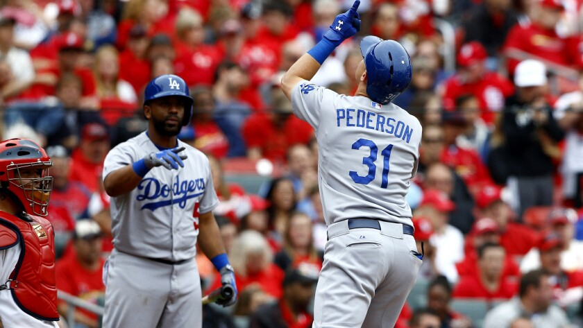 Dodgers center fielder Joc Pederson celebrates along with teammate Alberto Callaspo after hitting a solo home run against the Cardinals in the eighth inning Sunday in St. Louis.