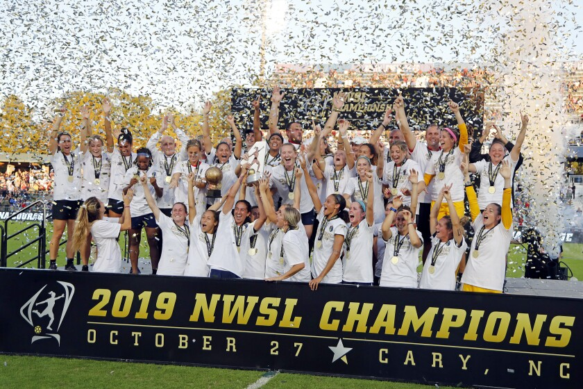 The North Carolina Courage celebrate their NWSL championship Oct. 27 in Cary, N.C.