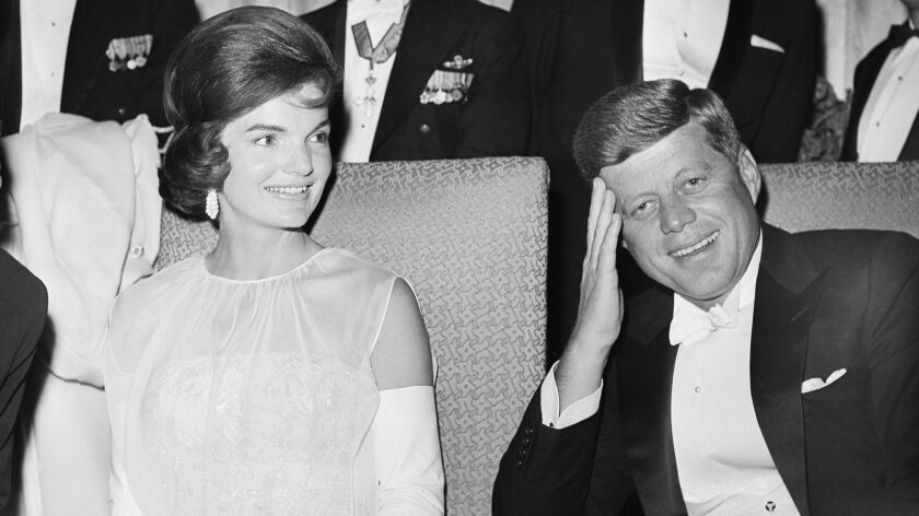 FILE - This Jan. 20, 1961 file photo shows President John F. Kennedy and first lady Jacqueline Kenne