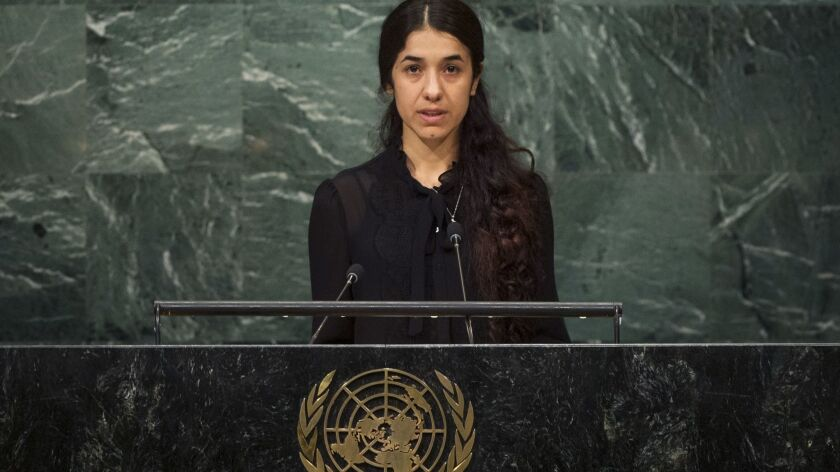 FILE - This Sept. 19, 2016 file photo shows Nadia Murad, a Yazidi former captive of the Islamic Stat