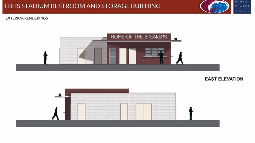 A new building between the track and baseball field at Laguna Beach High will feature storage space, men's and women's restrooms and a snack bar. Laguna Beach Unified School District officials hope to begin construction in July.