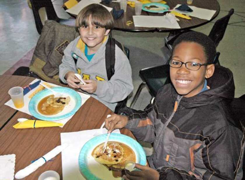 Jordan Middle School's A students are rewarded with pancakes
