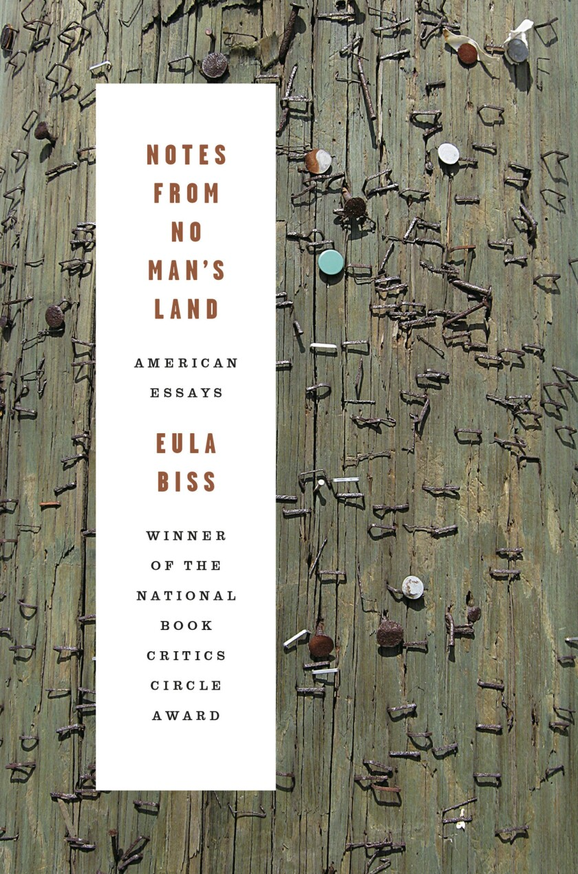 """A book jacket for Eula Biss's """"Notes From No Man's Land: American Essays."""" Credit: Graywolf Press"""