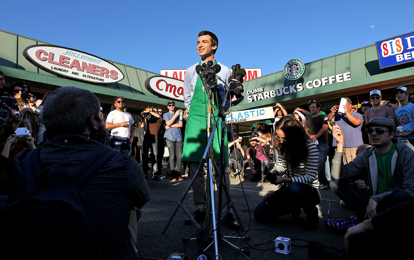 Comedian Nathan Fielder held a tongue-in-cheek news conference outside his Dumb Starbucks store in Los Feliz.