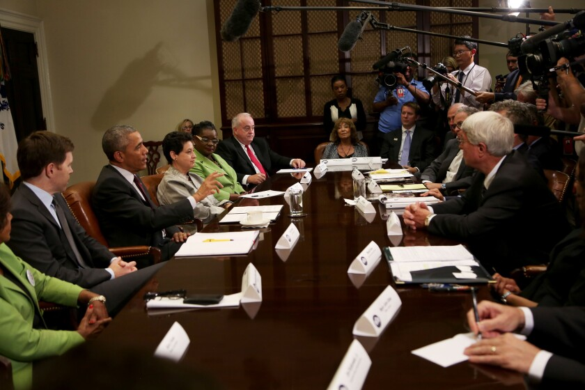 President Obama meets with small business owners to discuss the importance of the reauthorization of the Export-Import Bank in the Roosevelt Room of the White House on July 21.