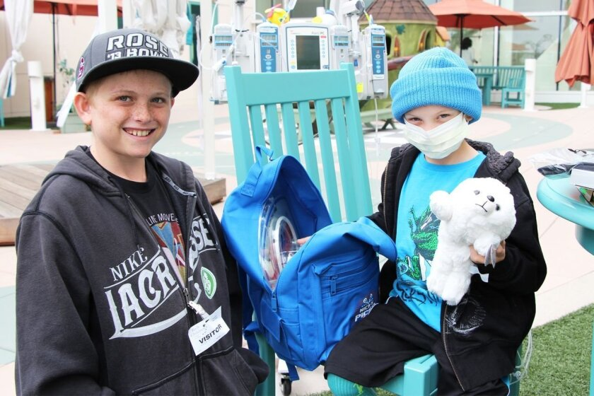 Nick Wallace, left, and his friend Parker Shaw with one of the 'Nick's Picks' backpacks. Nick and Parker became friends through Nick's visits to hospitals.