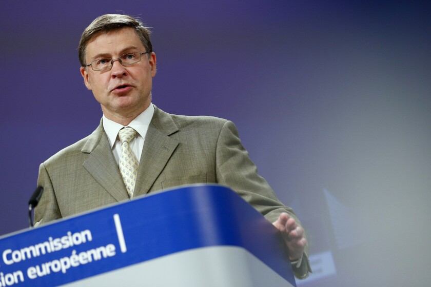 Executive Vice President of the European Commission Valdis Dombrovskis speaks during a media conference on the European Semester Spring Package at EU headquarters in Brussels, Wednesday, June 2, 2021. (Johanna Geron, Pool via AP)