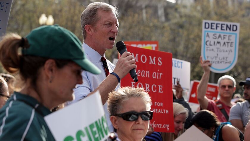 Environmentalist Tom Steyer, speaking during a protest at the White House, is stepping up his support of immigrant rights with a $2.3-million donation to the University of California Immigrant Legal Services Center and seven other organizations.