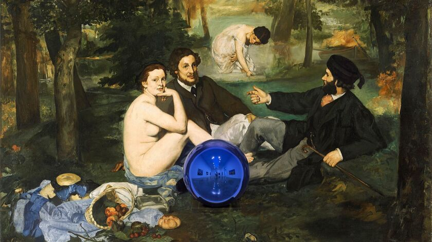 """A detail from Jeff Koons' """"Gazing Ball (Manet Luncheon on the Grass),"""" 2014-2015. The painting is part of the show at Gagosian."""