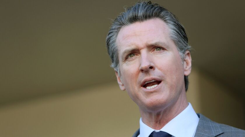 Gov. Newsom speaks in Long Beach, Calif. on Feb. 19.