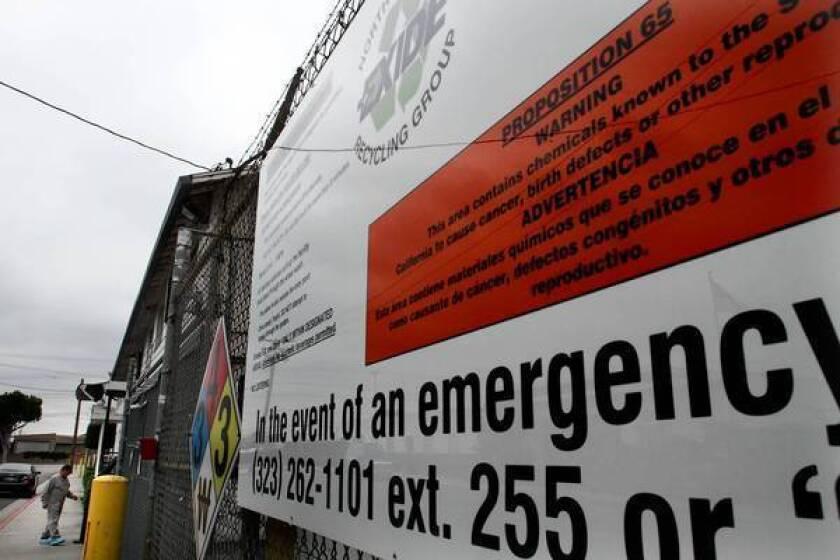 Arsenic emissions from Vernon firm Exide pose 'chronic hazard'