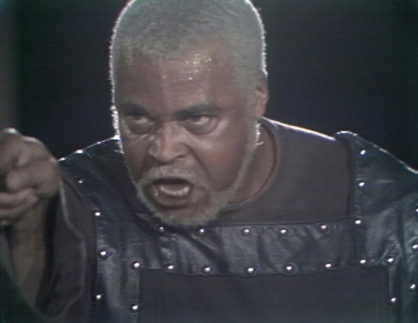 """James Earl Jones in a 1974 production of Shakespeare's """"King Lear"""" in New York's Central Park."""